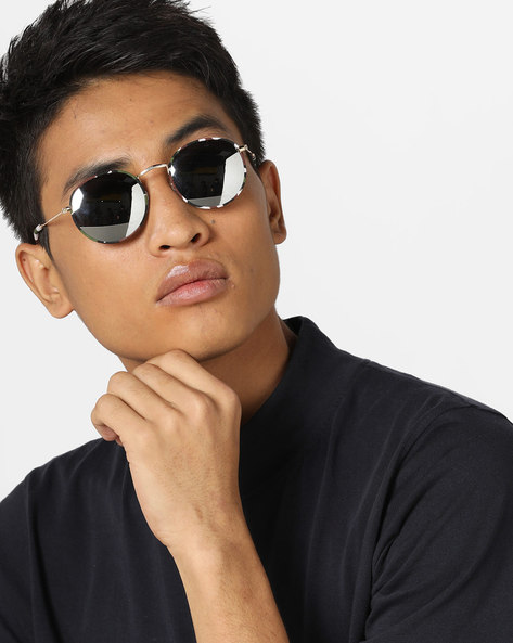Mirrored Round Sunglasses By Pataaka ( Silver )