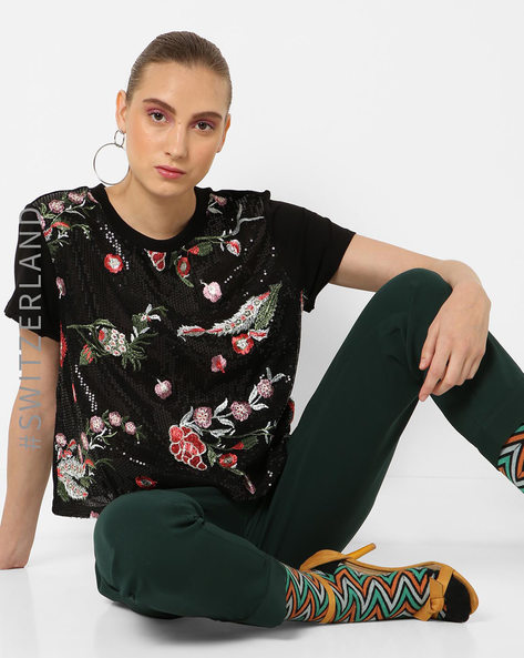 Sequined T-shirt With Floral Embroidery By TALLY WEiJL ( Multi )