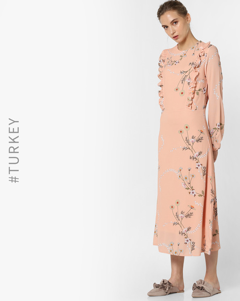 Floral Print Dress With Ruffles By TRENDYOL ( Orange )