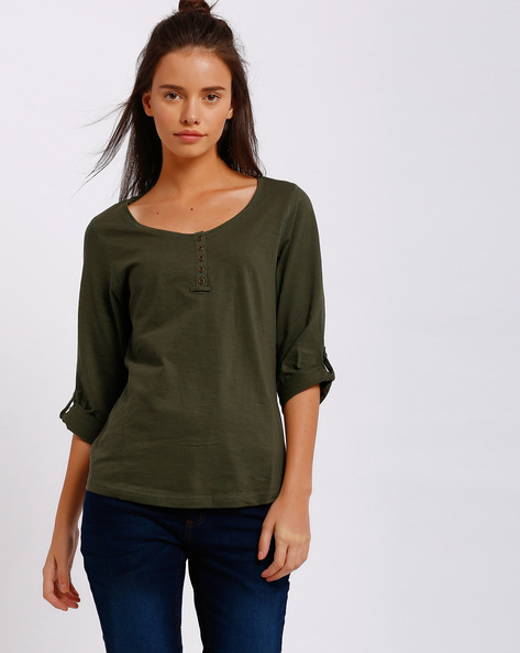 Henley T-shirt With Roll-up Sleeves By FIG ( Olive )