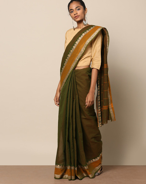 Kanchi Cotton Saree With Woven Border By Indie Picks ( Green ) - 460164684001