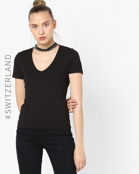 Scoop Neck Ribbed T-shirt With Choker Neck By TALLY WEiJL ( Black )