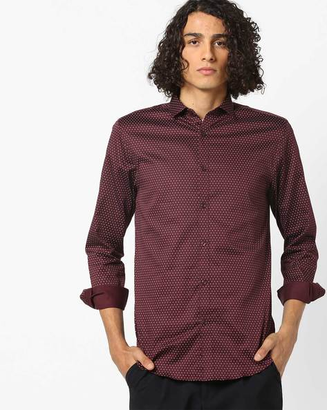 Printed Shirt With Curved Hemline By Jack & Jones ( Red )