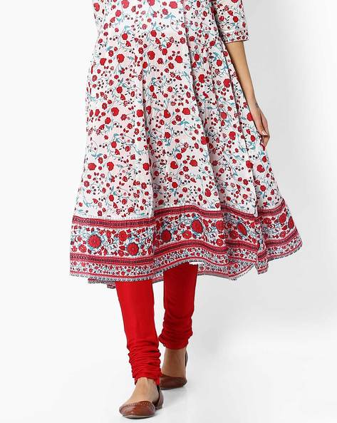 Churidar With Drawstring Fastening By Melange By Lifestyle ( Red )