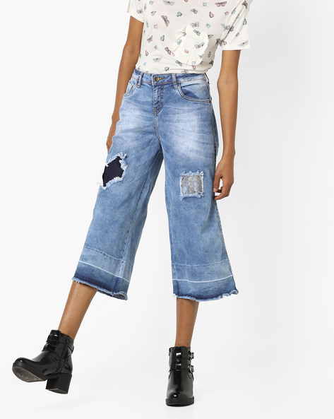 Distressed Cropped Jeans By AJIO ( Lightblue )