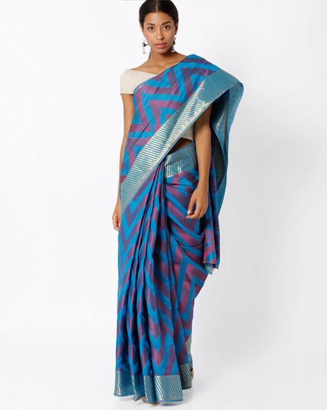 Saree With Chevron Design By Amori ( Blue )