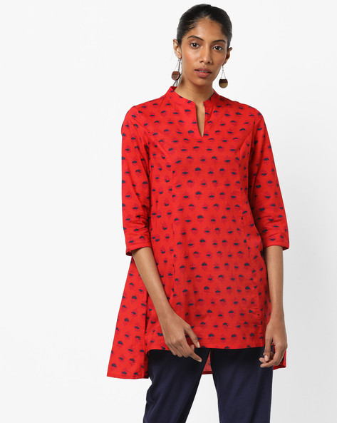 Printed Kurti With High-Low Hem By AJIO ( Red )