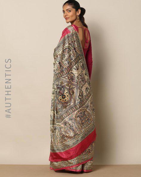 Madhubani Print Pure Silk Saree By Rudrakaashe-MSU ( Lightpink )
