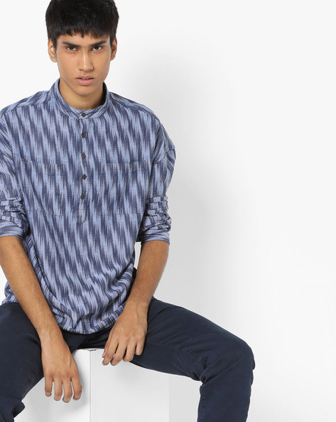 Printed Shirt With Mandarin Collar By AJIO ( Navy ) - 460092876001