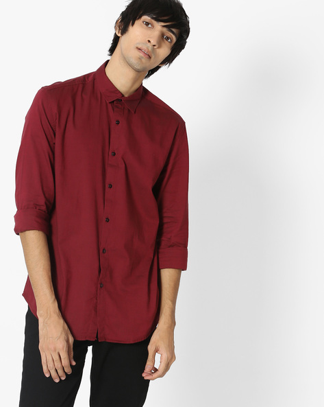 Cotton Shirt With Curved Hem By British Club ( Red )