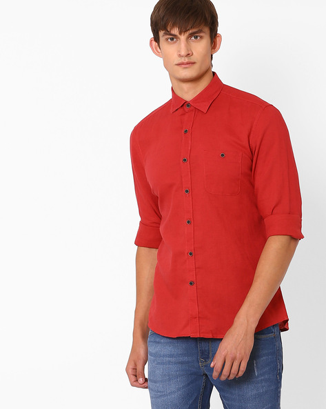 Linen Shirt With Patch Pocket By NETPLAY ( Red )
