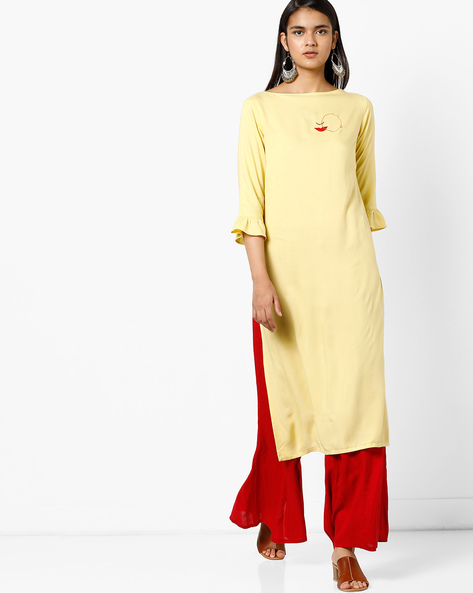 Straight Kurta With Back Tie-Up By AJIO ( Lime )