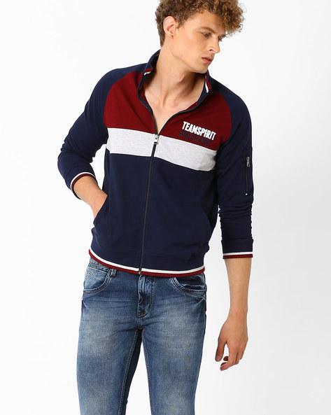 High-Neck Colourblock Regular Fit Sweatshirt By TEAM SPIRIT ( Navy )