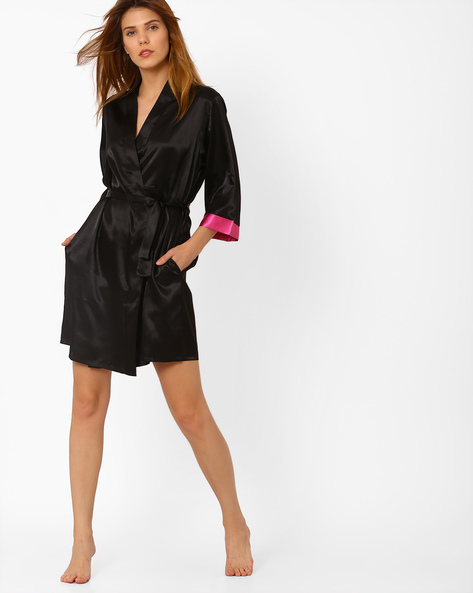 Robe With Contrast Cuffs By PrettySecrets ( Black )