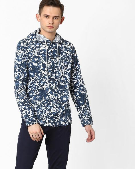 Floral Print Slim Shirt With Hood By AJIO ( Navy )