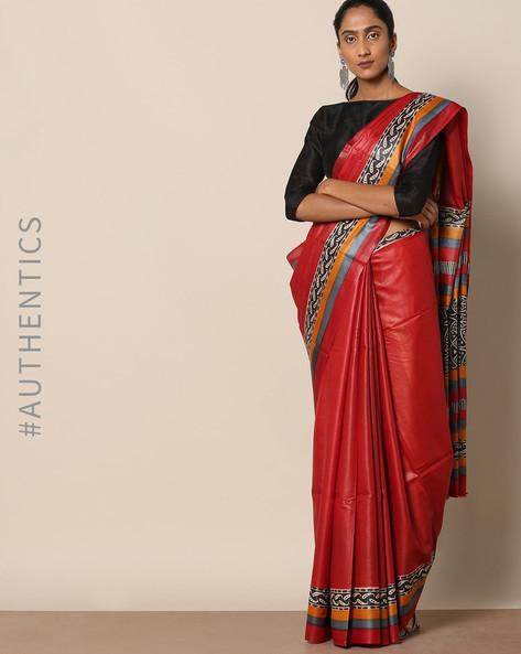 Handloom Pure Silk Tussar Printed Saree By Indie Picks ( Multi ) - 460147000001