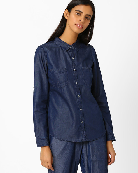Denim Shirt With Patch Pockets By AJIO ( Blue )