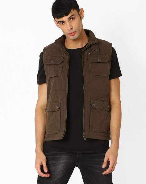 Jacket With Quilted Yoke By DUKE ( Olive )