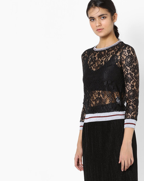 Sheer Floral Lace Top By Project Eve WW Athleisure ( Black )