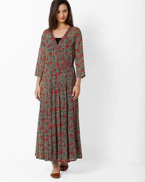 Floral Print Flared Kurta With Sequins By Global Desi ( Multi )