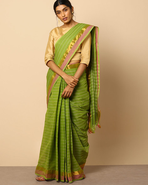 South Cotton Striped Saree With Zari Border By Indie Picks ( Green )
