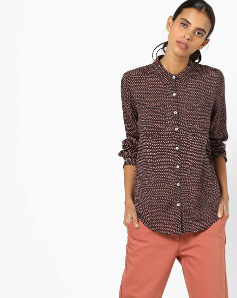 All-Over Print Shirt With Patch Pockets By UNITED COLORS OF BENETTON ( Blue )