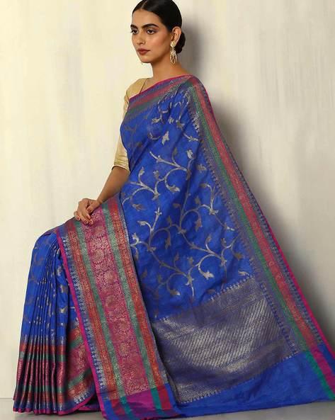 Antique Zari Banarasi Dupion South Silk Saree By Pretty Woman ( Blue )