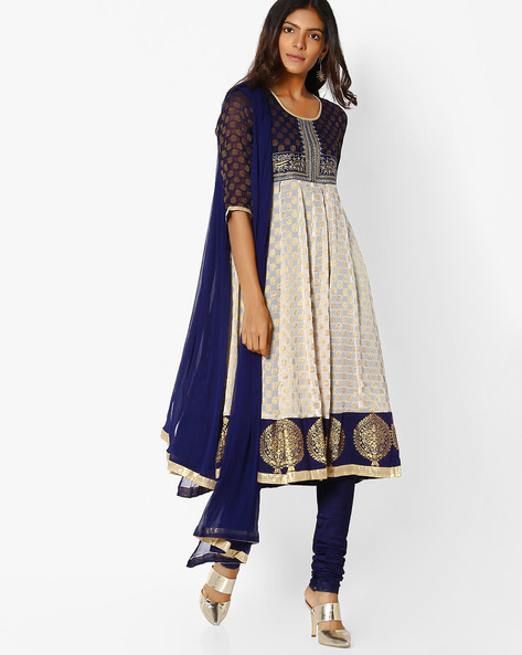 Woven Kurta Suit Set With Dupatta By AVAASA SET ( Navy )