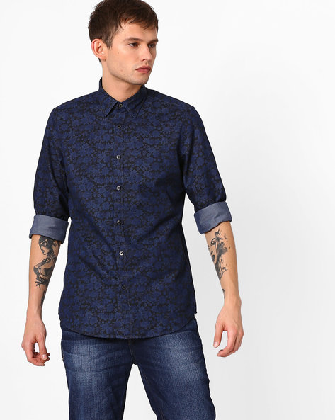 All-Over Floral Print Poplin Shirt By ADAMO LONDON ( Indigo )