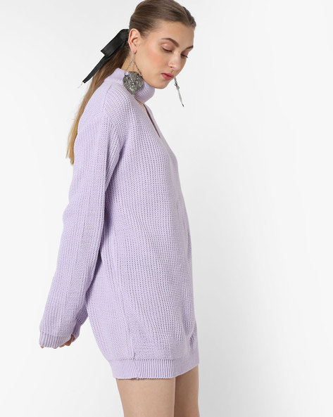 Knitted Sweater Dress With Choker Neckline By Glamorous ( Lilac )