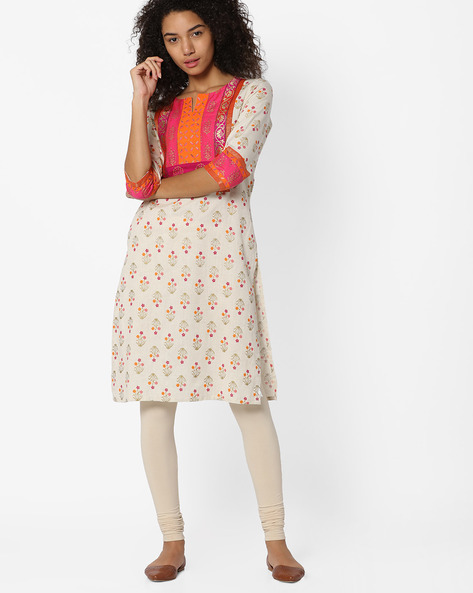 Floral Print Straight Kurta By AVAASA MIX N' MATCH ( Orange )