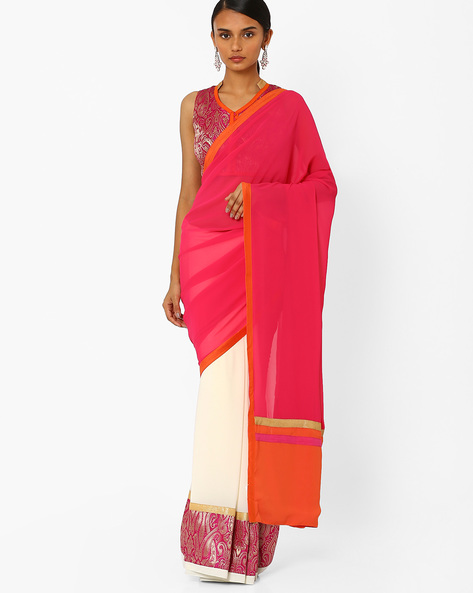 Half & Half Saree With Semi-Stitched Blouse By AJIO ( Offwhite )