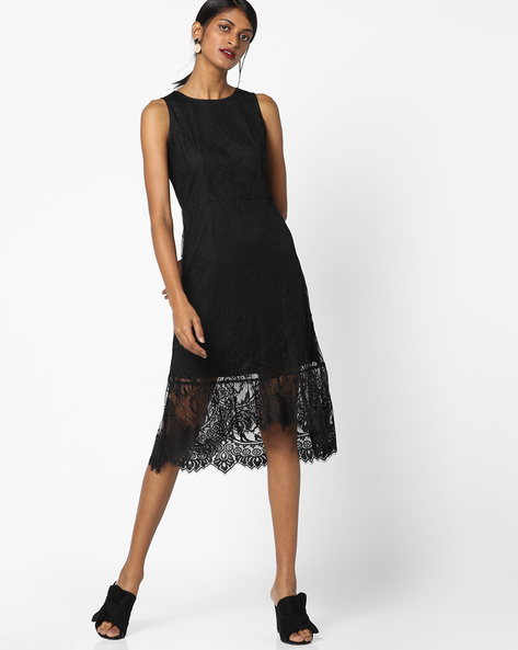 Sleeveless Lace Dress With Fishtail Hems By AJIO ( Black )