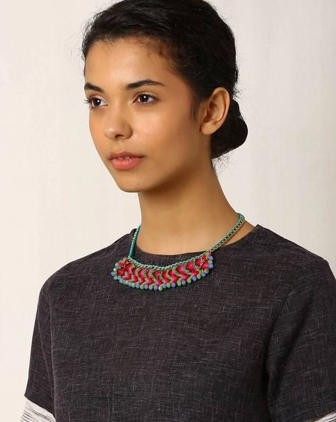 Glass Beaded Choker Necklace By Indie Picks ( Multi )