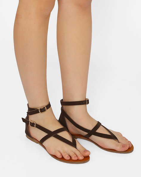 Ankle-Strap Flats With Buckle Closures By Curiozz ( Brown )