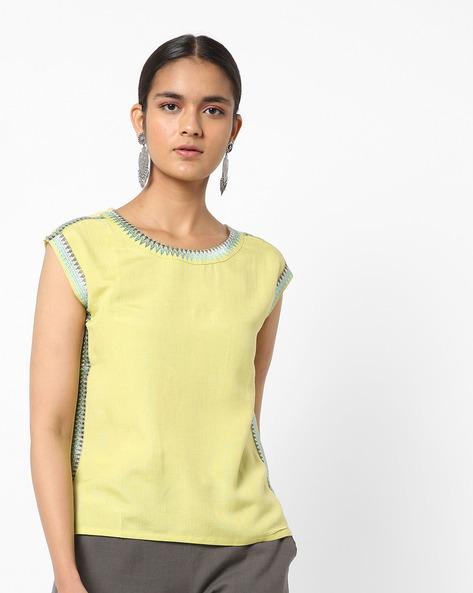 Embroidered Sleeveless Boxy Top By AJIO ( Mustard )