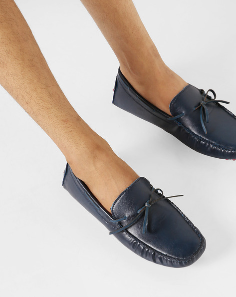 N9-Treated Boat Shoes With Tie-Up By AJIO ( Navy )
