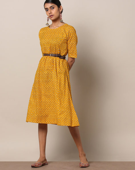 Printed Cotton Princess A-line Dress By Seasons ( Mustard )