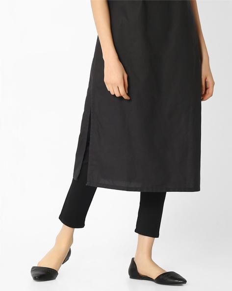 Ankle-Length Churidar Leggings By AURELIA ( Black )