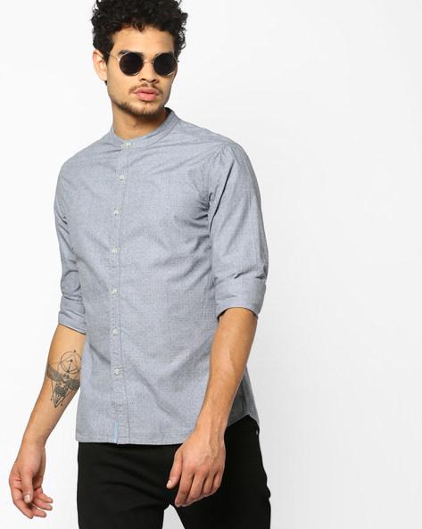 Slim Fit Polka-Dot Print Shirt By AJIO ( Lightgrey )