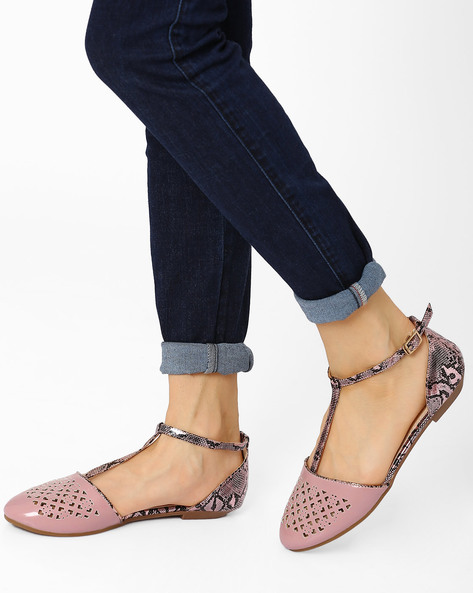 T-Strap Flat Shoes By AJIO ( Purple )