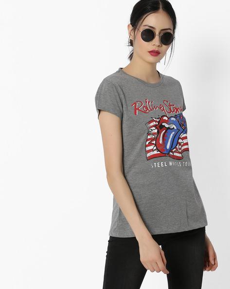 Graphic Print Crew-Neck T-shirt By Free Authority ( Lgtgrey )