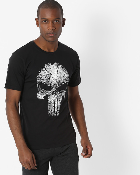 Glow-In-The-Dark Print Crew-Neck T-shirt By Souled Store ( Black ) - 460137244005