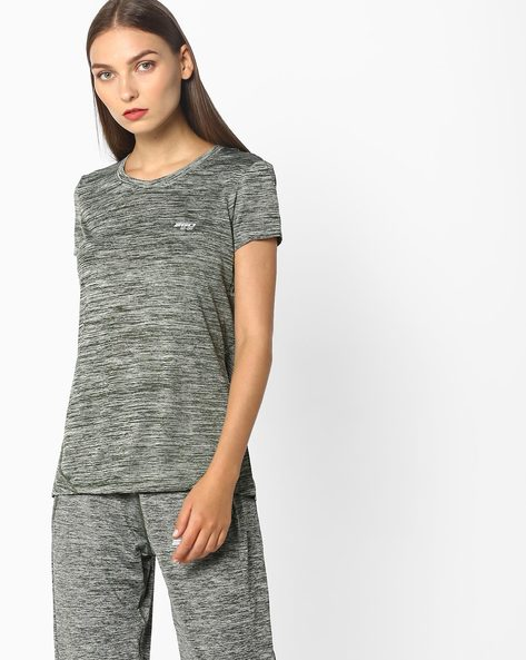 Slub-Knit T-shirt With Go-Dry Technology By 2Go ( Olive )