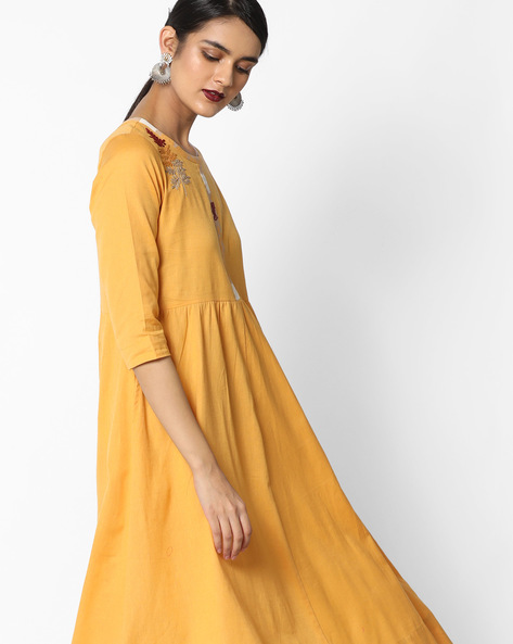 A-line Dress With Embroidery By AJIO ( Mustard )