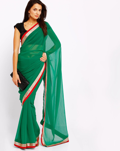 Chiffon Saree With Contrast Border By Majestic Silk ( Green )