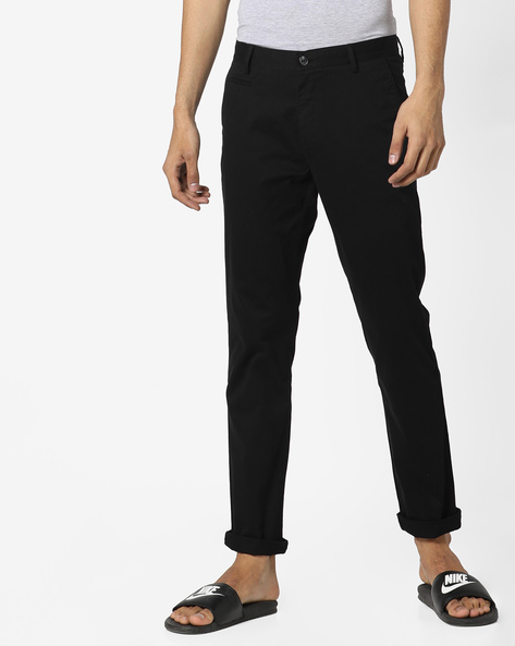 Mid-Rise Flat-Front Trousers By AJIO ( Black ) - 460105512011