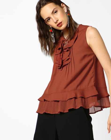 Ruffled Top With Tassel Tie-Up By AJIO ( Rust )
