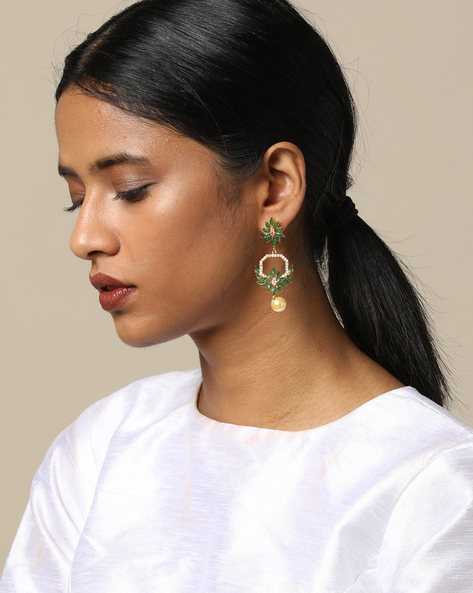Floral Stone Earrings With Pearl Drop By Spargz ( Multi )