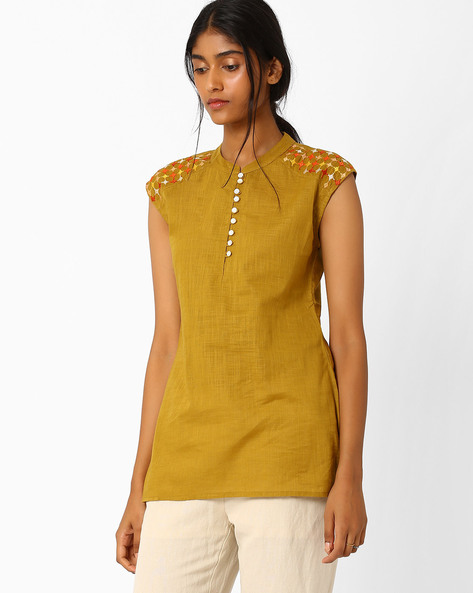 Tunic With Embroidered Shoulder Panels By AJIO ( Olive )